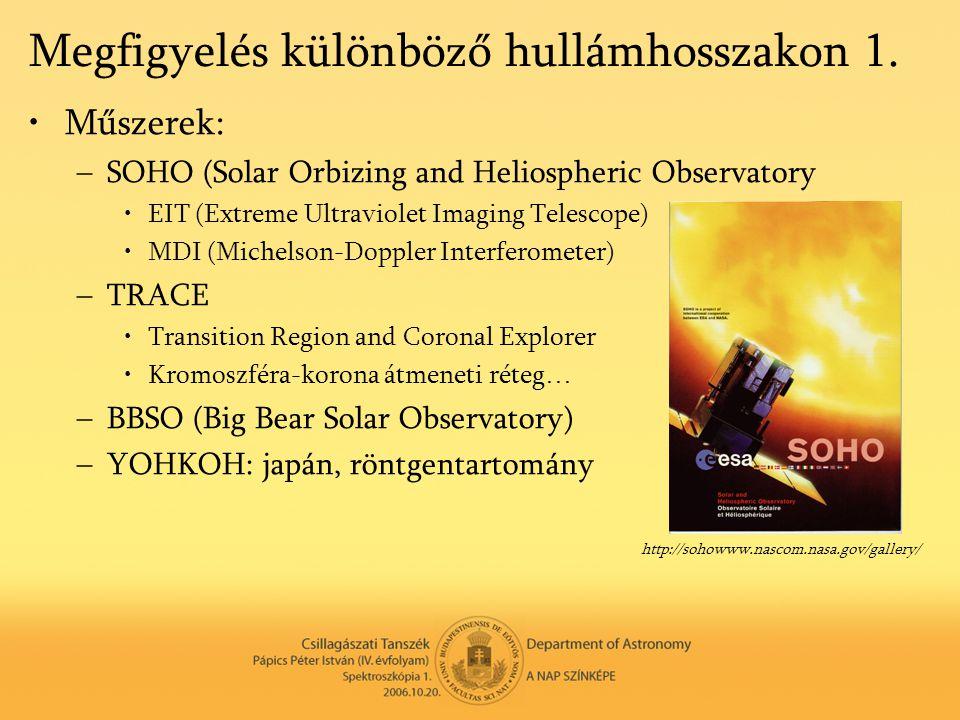 Megfigyelés különböző hullámhosszakon 1. •Műszerek: –SOHO (Solar Orbizing and Heliospheric Observatory •EIT (Extreme Ultraviolet Imaging Telescope) •M