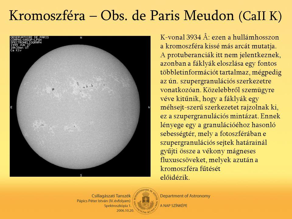 Kromoszféra – Obs. de Paris Meudon (CaII K) K-vonal 3934 Å: ezen a hullámhosszon a kromoszféra kissé más arcát mutatja. A protuberanciák itt nem jelen