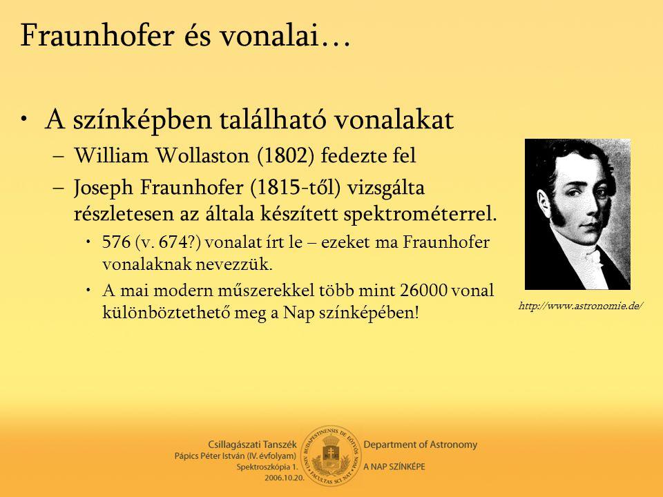 Fraunhofer és vonalai… •A színképben található vonalakat –William Wollaston (1802) fedezte fel –Joseph Fraunhofer (1815-től) vizsgálta részletesen az