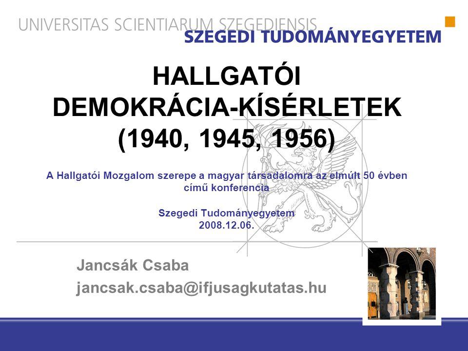 HALLGATÓI DEMOKRÁCIA-KÍSÉRLETEK (1940, 1945, 1956) A Hallgatói Mozgalom szerepe a magyar társadalomra az elmúlt 50 évben című konferencia Szegedi Tudományegyetem 2008.12.06.