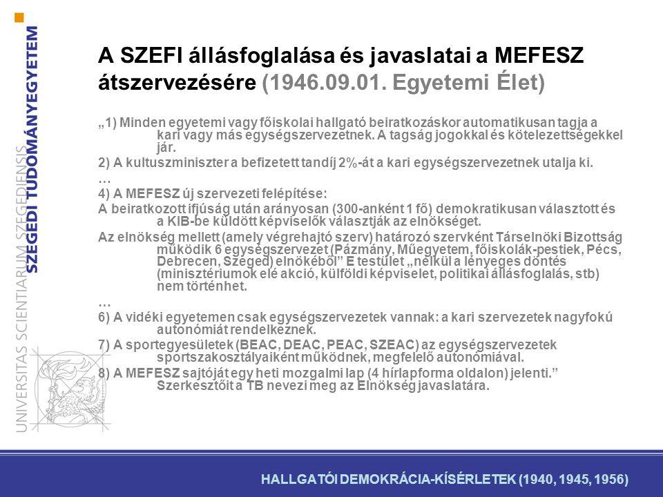 HALLGATÓI DEMOKRÁCIA-KÍSÉRLETEK (1940, 1945, 1956) A SZEFI állásfoglalása és javaslatai a MEFESZ átszervezésére (1946.09.01.