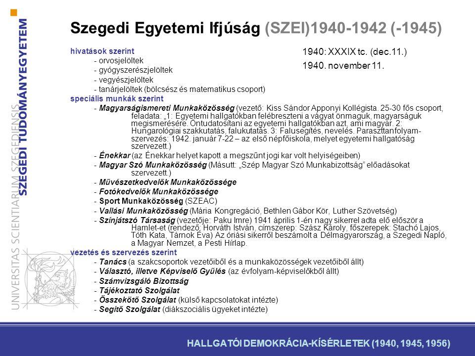 Szegedi Egyetemi Ifjúság (SZEI)1940-1942 (-1945) hivatások szerint - orvosjelöltek - gyógyszerészjelöltek - vegyészjelöltek - tanárjelöltek (bölcsész és matematikus csoport) speciális munkák szerint - Magyarságismereti Munkaközösség (vezető: Kiss Sándor Apponyi Kollégista.