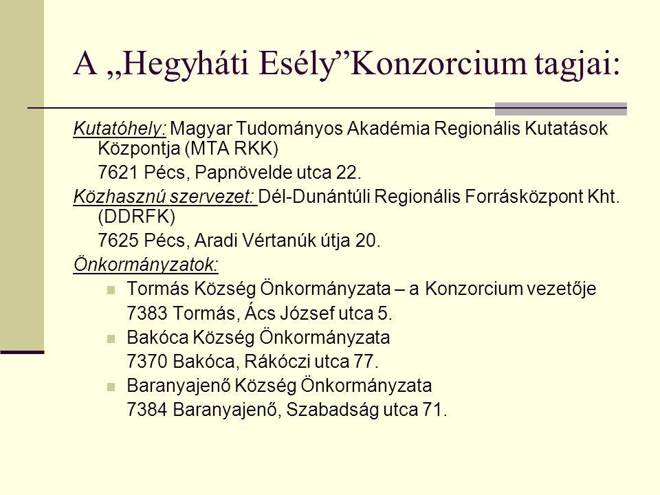 """A """"Hegyháti Esély""""Konzorcium tagjai: Kutatóhely: Magyar Tudományos Akadémia Regionális Kutatások Központja (MTA RKK) 7621 Pécs, Papnövelde utca 22. Kö"""