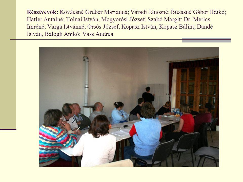 Résztvevők: Kovácsné Gruber Marianna; Váradi Jánosné; Buzásné Gábor Ildikó; Hatler Antalné; Tolnai István, Mogyorósi József, Szabó Margit; Dr. Merics