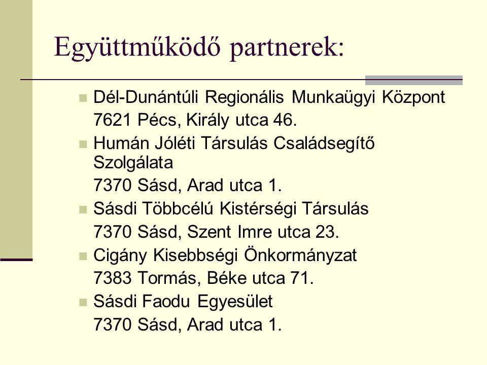 Együttműködő partnerek:  Dél-Dunántúli Regionális Munkaügyi Központ 7621 Pécs, Király utca 46.  Humán Jóléti Társulás Családsegítő Szolgálata 7370 S