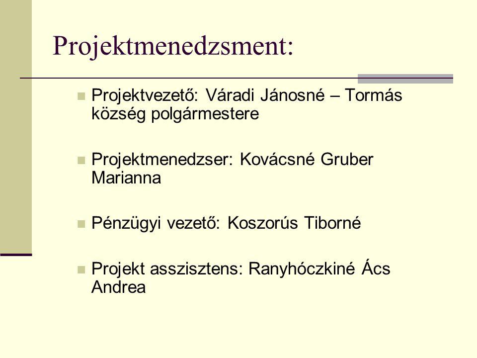 Projektmenedzsment:  Projektvezető: Váradi Jánosné – Tormás község polgármestere  Projektmenedzser: Kovácsné Gruber Marianna  Pénzügyi vezető: Kosz