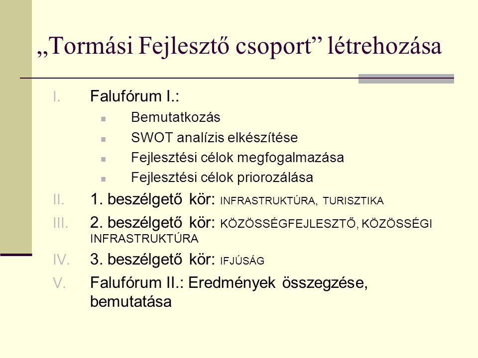 """""""Tormási Fejlesztő csoport"""" létrehozása I. Falufórum I.:  Bemutatkozás  SWOT analízis elkészítése  Fejlesztési célok megfogalmazása  Fejlesztési c"""