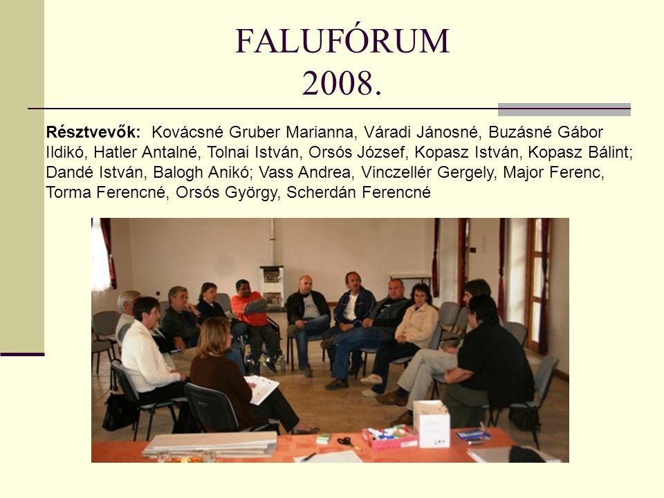 FALUFÓRUM 2008. Résztvevők: Kovácsné Gruber Marianna, Váradi Jánosné, Buzásné Gábor Ildikó, Hatler Antalné, Tolnai István, Orsós József, Kopasz István