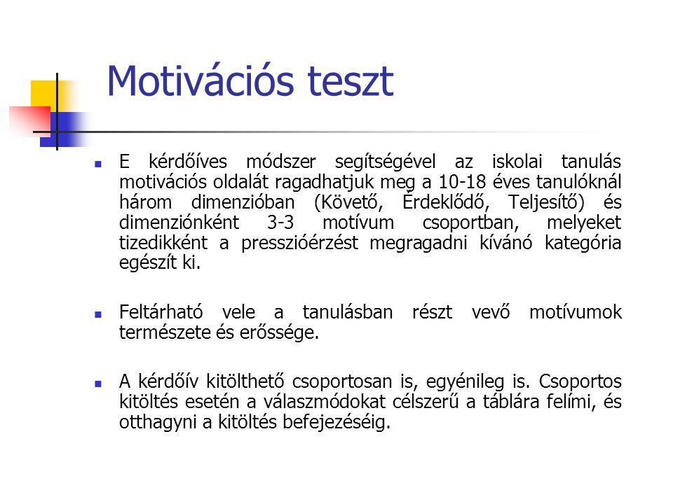 Motivációs teszt  E kérdőíves módszer segítségével az iskolai tanulás motivációs oldalát ragadhatjuk meg a 10-18 éves tanulóknál három dimenzióban (K