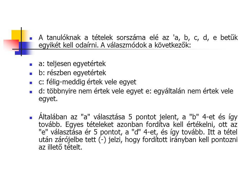  A tanulóknak a tételek sorszáma elé az 'a, b, c, d, e betűk egyikét kell odaírni. A válaszmódok a következők:  a: teljesen egyetértek  b: részben