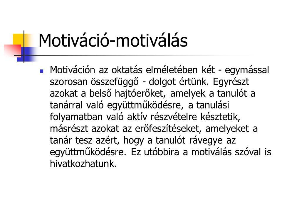 Motiváció-motiválás  Motiváción az oktatás elméletében két - egymással szorosan összefüggő - dolgot értünk. Egyrészt azokat a belső hajtóerőket, amel
