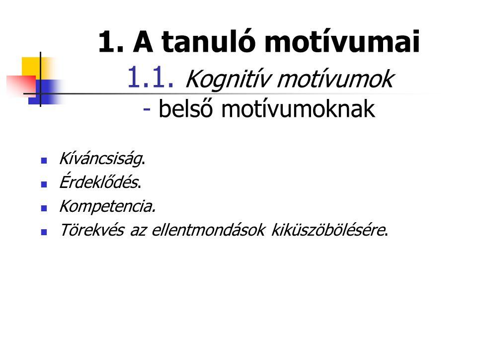 1. A tanuló motívumai 1.1. Kognitív motívumok - belső motívumoknak  Kíváncsiság.  Érdeklődés.  Kompetencia.  Törekvés az ellentmondások kiküszöböl