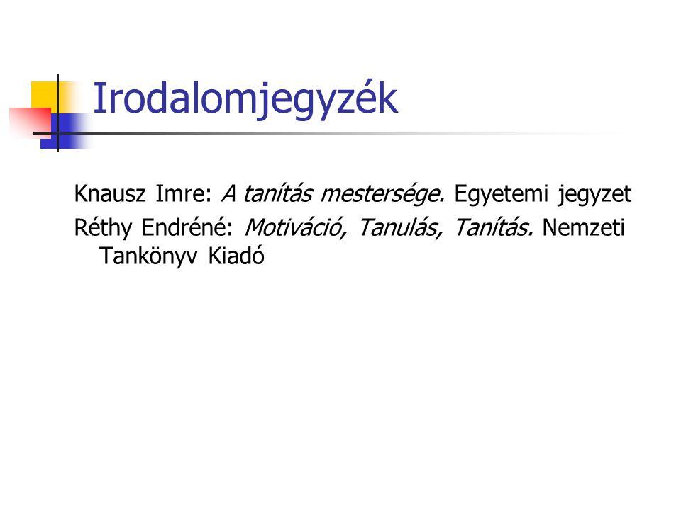 Irodalomjegyzék Knausz Imre: A tanítás mestersége. Egyetemi jegyzet Réthy Endréné: Motiváció, Tanulás, Tanítás. Nemzeti Tankönyv Kiadó