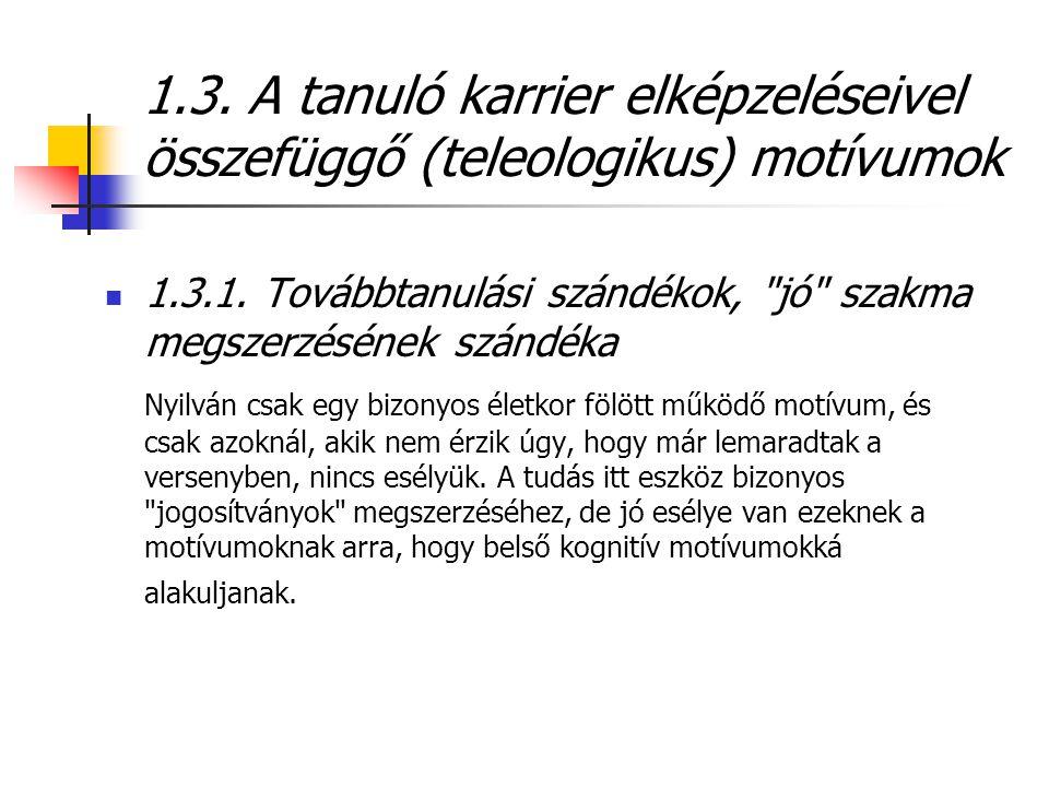 1.3. A tanuló karrier elképzeléseivel összefüggő (teleologikus) motívumok  1.3.1. Továbbtanulási szándékok,