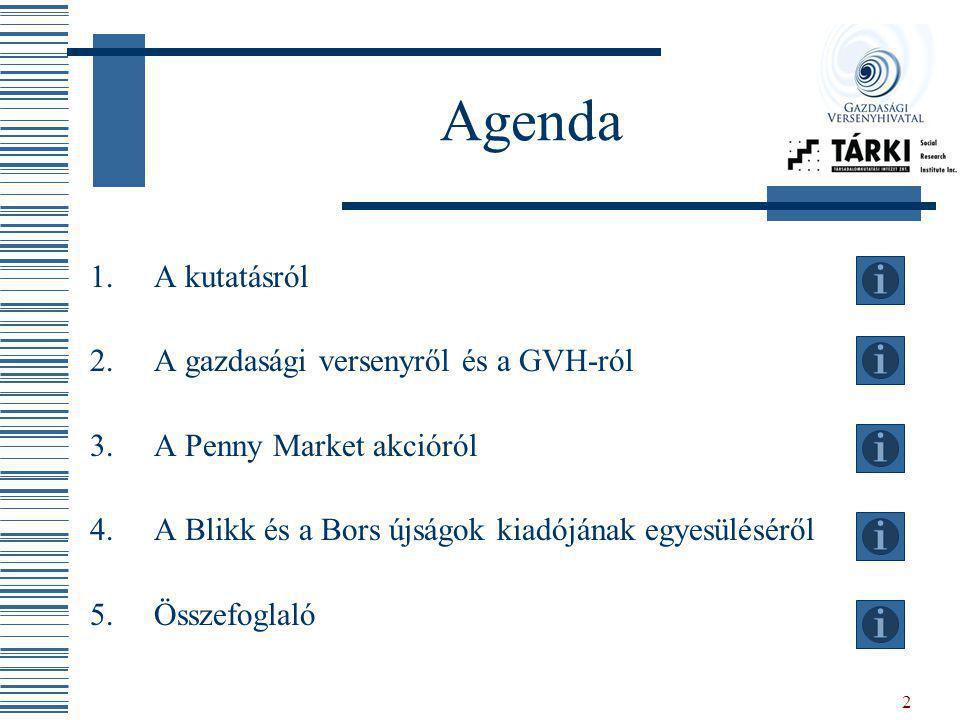 2 Agenda 1.A kutatásról 2.A gazdasági versenyről és a GVH-ról 3.A Penny Market akcióról 4.A Blikk és a Bors újságok kiadójának egyesüléséről 5.Összefo