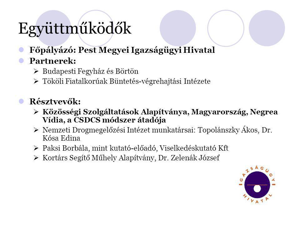 Együttműködők  Főpályázó: Pest Megyei Igazságügyi Hivatal  Partnerek:  Budapesti Fegyház és Börtön  Tököli Fiatalkorúak Büntetés-végrehajtási Inté