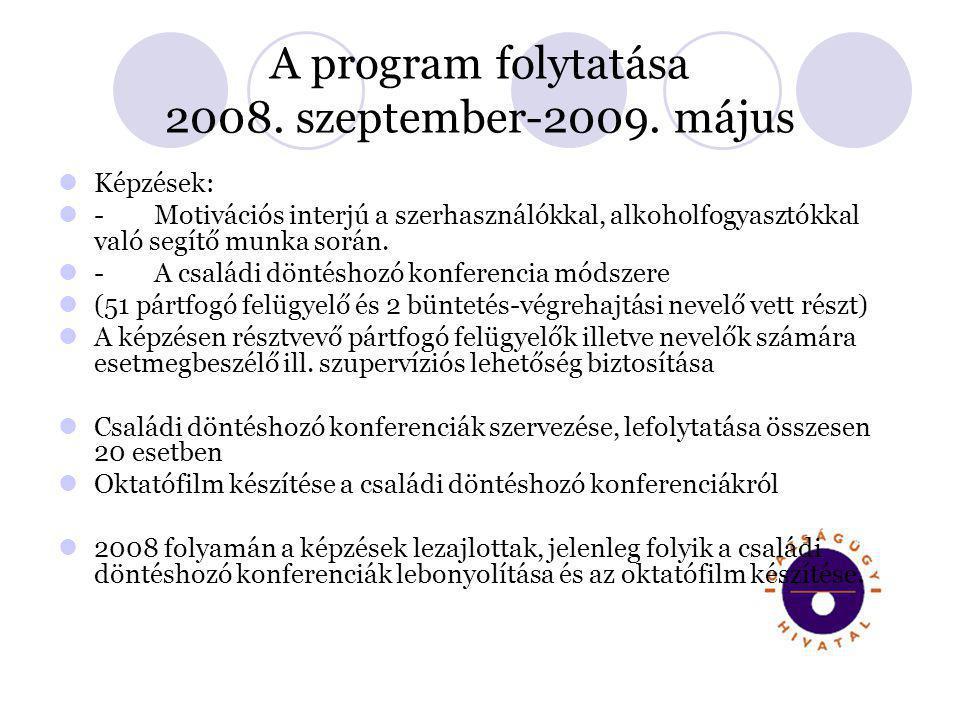 A program folytatása 2008. szeptember-2009. május  Képzések:  -Motivációs interjú a szerhasználókkal, alkoholfogyasztókkal való segítő munka során.