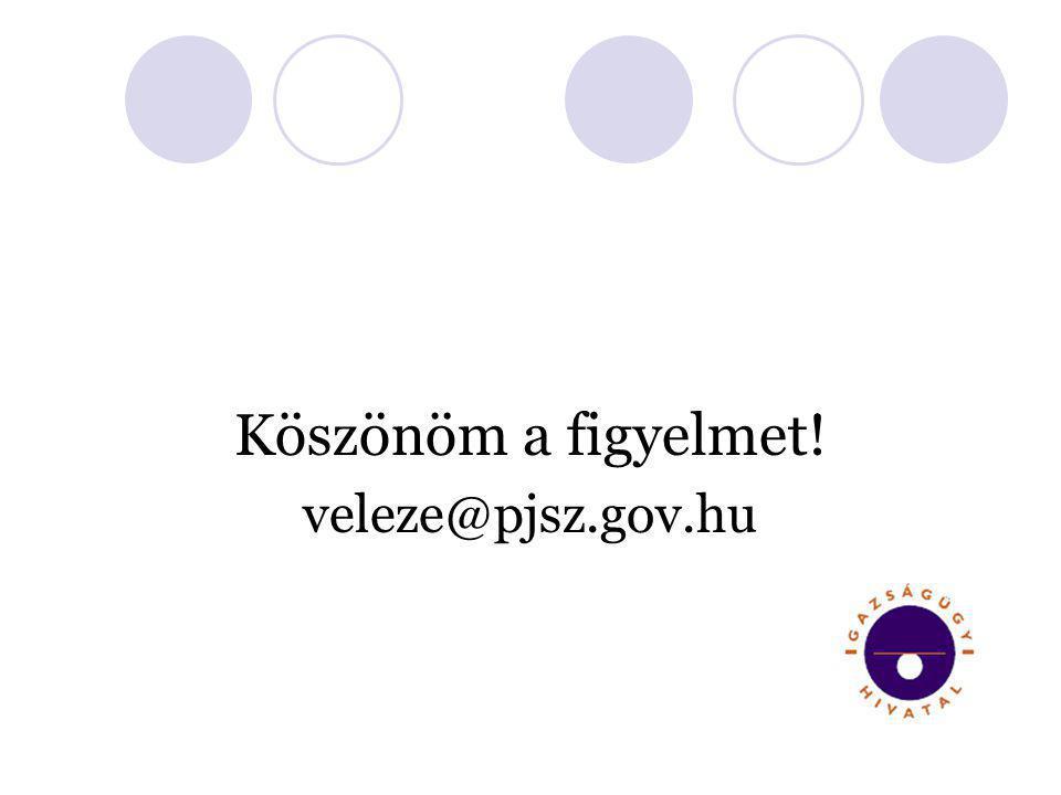 Köszönöm a figyelmet! veleze@pjsz.gov.hu