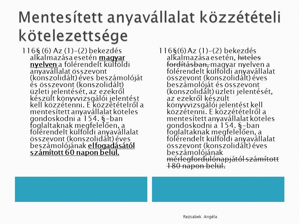 116§ (6) Az (1)-(2) bekezdés alkalmazása esetén magyar nyelven a fölérendelt külföldi anyavállalat összevont (konszolidált) éves beszámolóját és összevont (konszolidált) üzleti jelentését, az ezekről készült könyvvizsgálói jelentést kell közzétenni.