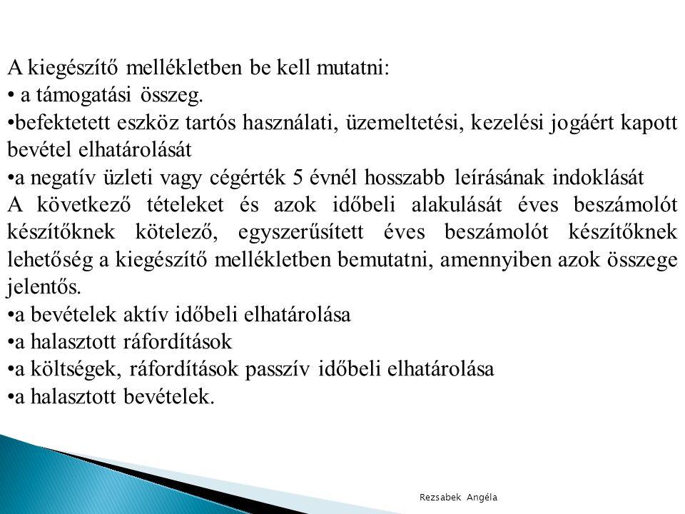 Rezsabek Angéla A kiegészítő mellékletben be kell mutatni: • a támogatási összeg.