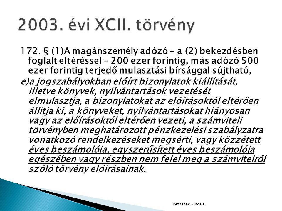 172. § (1)A magánszemély adózó – a (2) bekezdésben foglalt eltéréssel – 200 ezer forintig, más adózó 500 ezer forintig terjedő mulasztási bírsággal sú