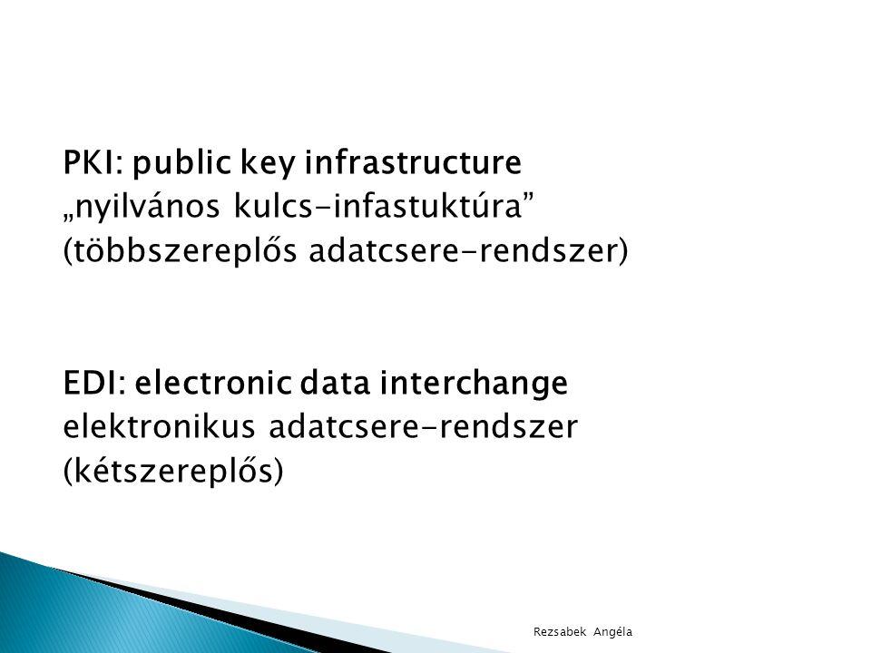 """PKI: public key infrastructure """"nyilvános kulcs-infastuktúra (többszereplős adatcsere-rendszer) EDI: electronic data interchange elektronikus adatcsere-rendszer (kétszereplős) Rezsabek Angéla"""