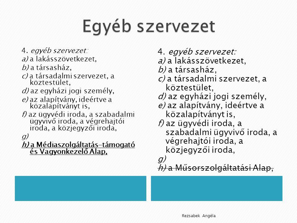 4. egyéb szervezet: a) a lakásszövetkezet, b) a társasház, c) a társadalmi szervezet, a köztestület, d) az egyházi jogi személy, e) az alapítvány, ide