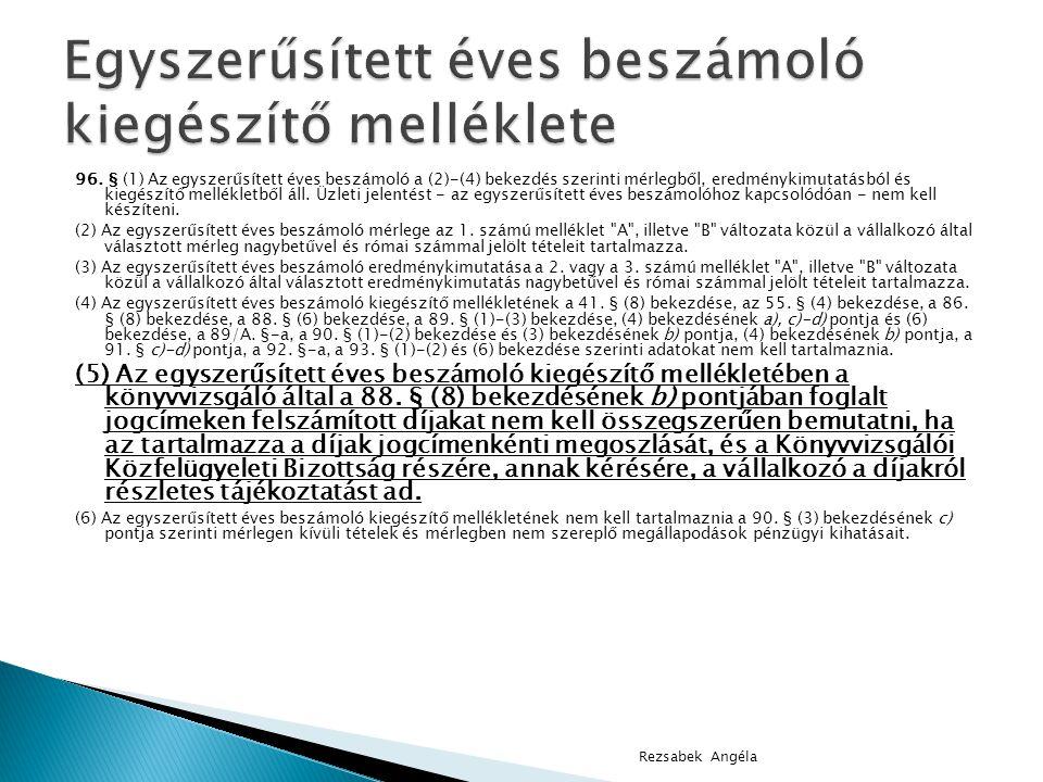 96. § (1) Az egyszerűsített éves beszámoló a (2)-(4) bekezdés szerinti mérlegből, eredménykimutatásból és kiegészítő mellékletből áll. Üzleti jelentés