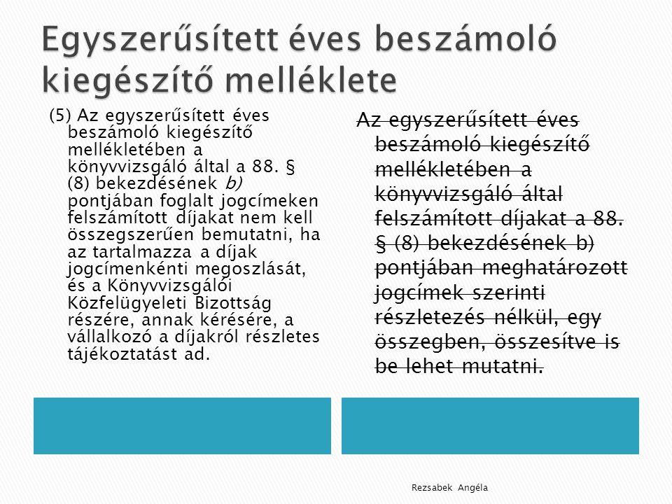 (5) Az egyszerűsített éves beszámoló kiegészítő mellékletében a könyvvizsgáló által a 88.