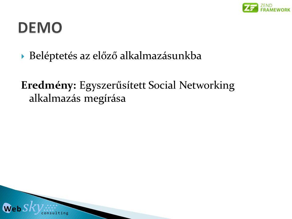  Beléptetés az előző alkalmazásunkba Eredmény: Egyszerűsített Social Networking alkalmazás megírása