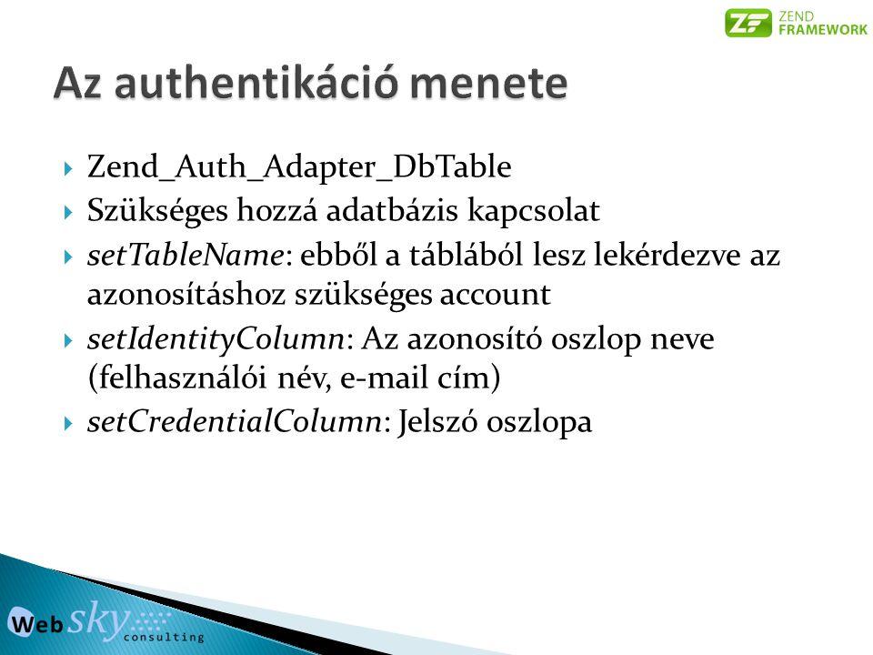  Zend_Auth_Adapter_DbTable  Szükséges hozzá adatbázis kapcsolat  setTableName: ebből a táblából lesz lekérdezve az azonosításhoz szükséges account  setIdentityColumn: Az azonosító oszlop neve (felhasználói név, e-mail cím)  setCredentialColumn: Jelszó oszlopa