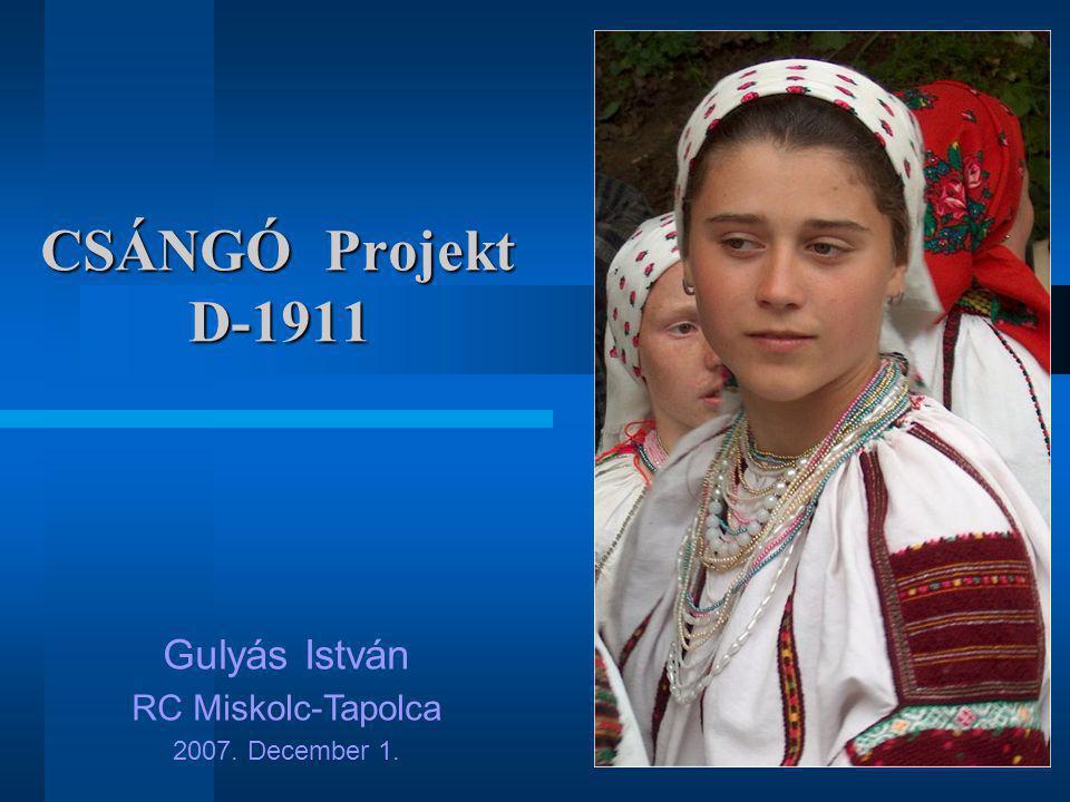 1 CSÁNGÓ Projekt D-1911 Gulyás István RC Miskolc-Tapolca 2007. December 1.