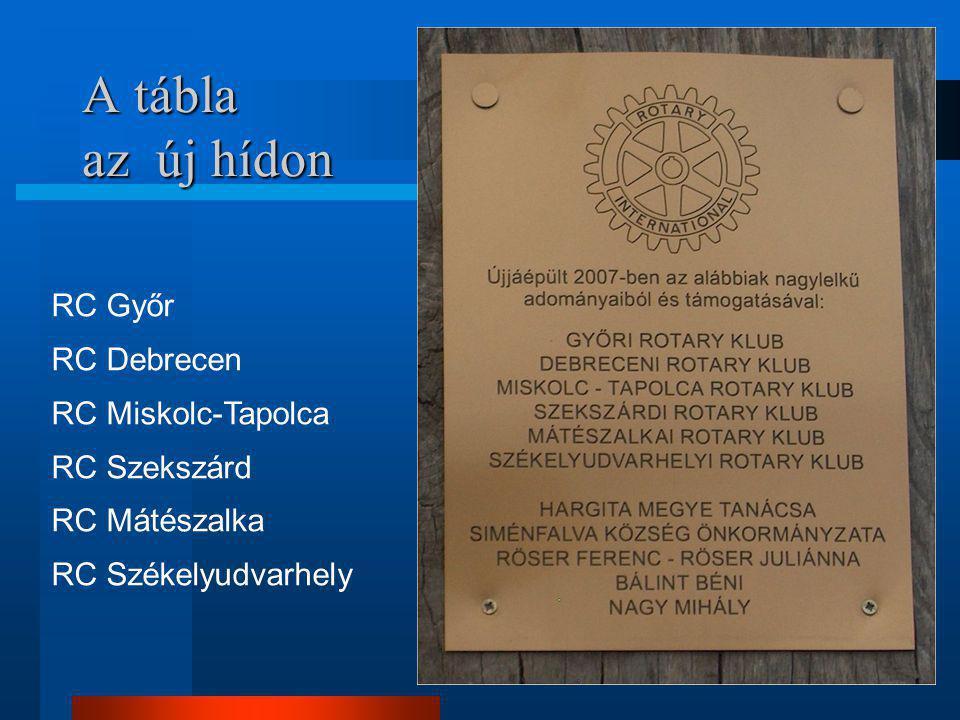 24 A tábla az új hídon RC Győr RC Debrecen RC Miskolc-Tapolca RC Szekszárd RC Mátészalka RC Székelyudvarhely