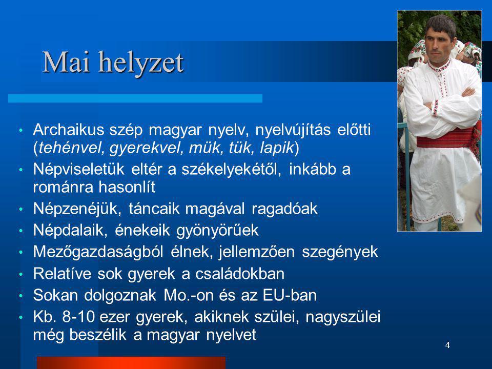 4 Mai helyzet • Archaikus szép magyar nyelv, nyelvújítás előtti (tehénvel, gyerekvel, mük, tük, lapik) • Népviseletük eltér a székelyekétől, inkább a