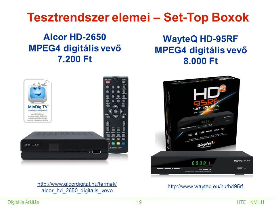 Tesztrendszer elemei – Set-Top Boxok Alcor HD-2650 MPEG4 digitális vevő 7.200 Ft WayteQ HD-95RF MPEG4 digitális vevő 8.000 Ft HTE - NMHHDigitális Átál