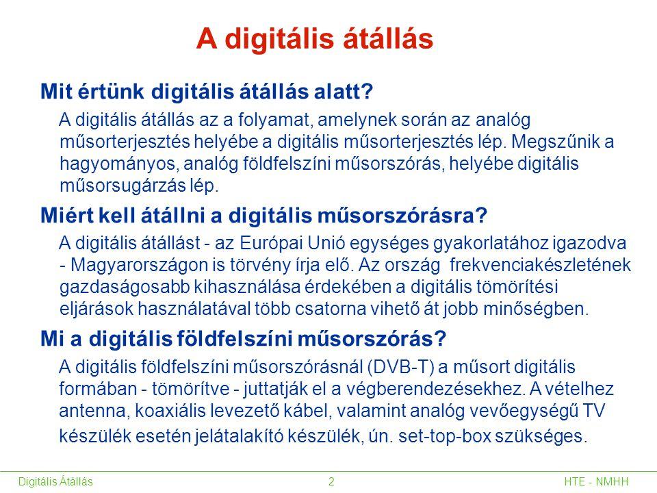 HTE - NMHHDigitális Átállás2 Mit értünk digitális átállás alatt? A digitális átállás az a folyamat, amelynek során az analóg műsorterjesztés helyébe a