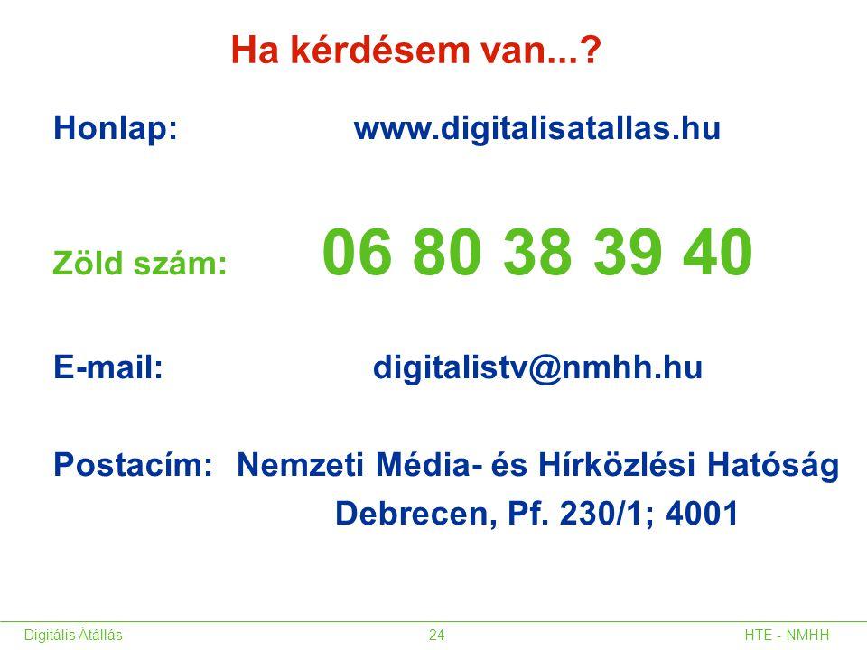 Honlap: www.digitalisatallas.hu Zöld szám: 06 80 38 39 40 E-mail: digitalistv@nmhh.hu Postacím: Nemzeti Média- és Hírközlési Hatóság Debrecen, Pf. 230