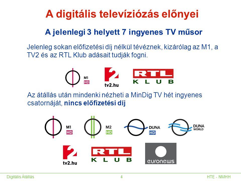HTE - NMHHDigitális Átállás4 Az átállás után mindenki nézheti a MinDig TV hét ingyenes csatornáját, nincs előfizetési díj A digitális televíziózás elő