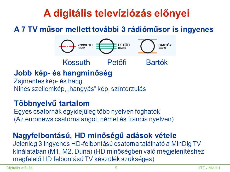 Kossuth Petőfi Bartók A digitális televíziózás előnyei A 7 TV műsor mellett további 3 rádióműsor is ingyenes Nagyfelbontású, HD minőségű adások vétele