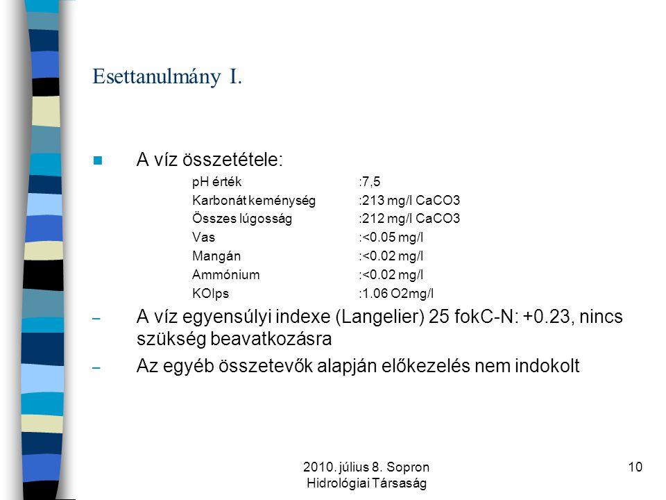 2010. július 8. Sopron Hidrológiai Társaság 10 Esettanulmány I.  A víz összetétele: pH érték:7,5 Karbonát keménység:213 mg/l CaCO3 Összes lúgosság:21