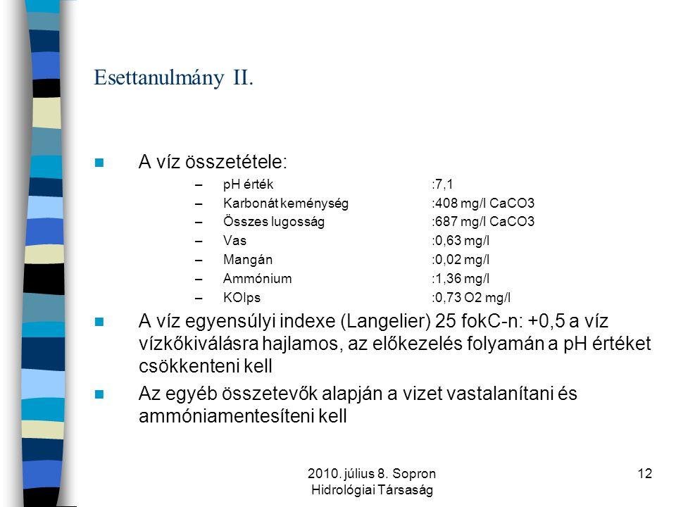 2010. július 8. Sopron Hidrológiai Társaság 12 Esettanulmány II.  A víz összetétele: –pH érték:7,1 –Karbonát keménység:408 mg/l CaCO3 –Összes lugossá