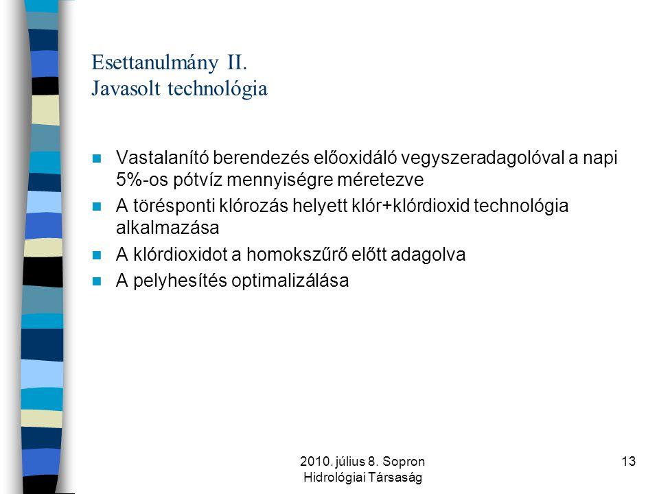 2010. július 8. Sopron Hidrológiai Társaság 13 Esettanulmány II. Javasolt technológia  Vastalanító berendezés előoxidáló vegyszeradagolóval a napi 5%