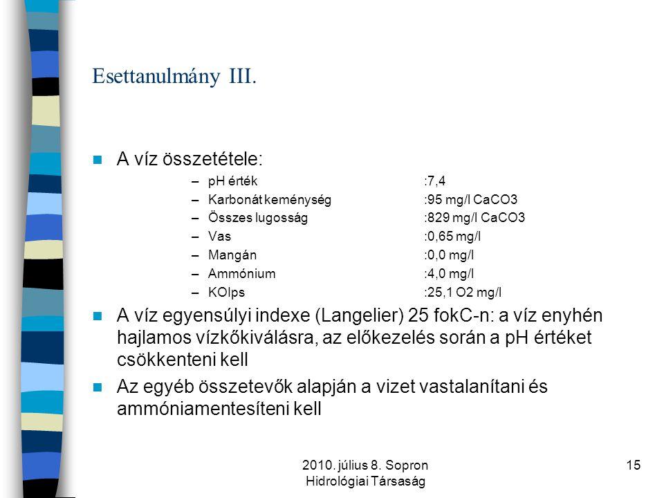 2010. július 8. Sopron Hidrológiai Társaság 15 Esettanulmány III.  A víz összetétele: –pH érték:7,4 –Karbonát keménység:95 mg/l CaCO3 –Összes lugossá