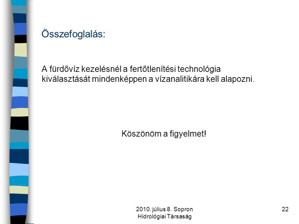 2010. július 8. Sopron Hidrológiai Társaság 22 Összefoglalás: A fürdővíz kezelésnél a fertőtlenítési technológia kiválasztását mindenképpen a vízanali