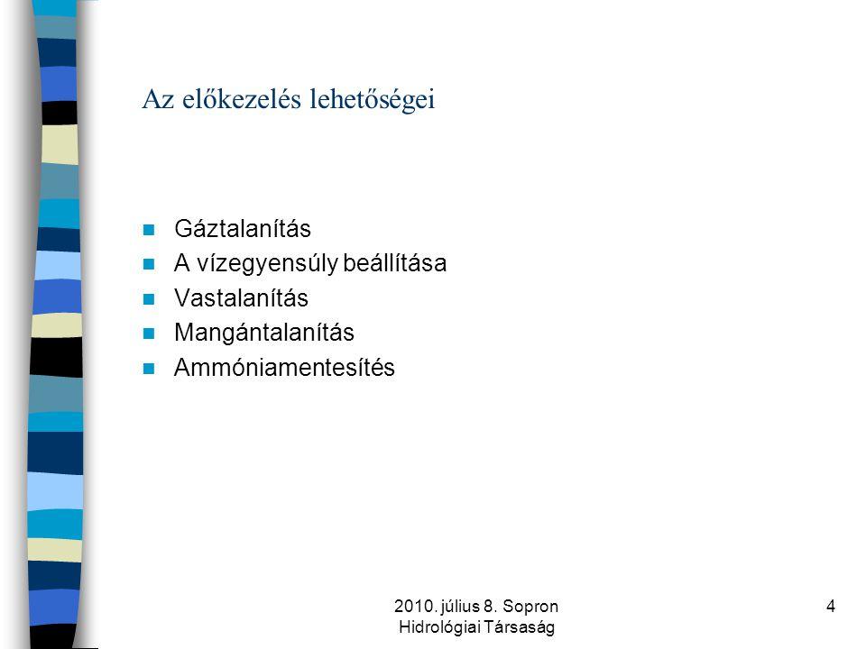 2010. július 8. Sopron Hidrológiai Társaság 4 Az előkezelés lehetőségei  Gáztalanítás  A vízegyensúly beállítása  Vastalanítás  Mangántalanítás 
