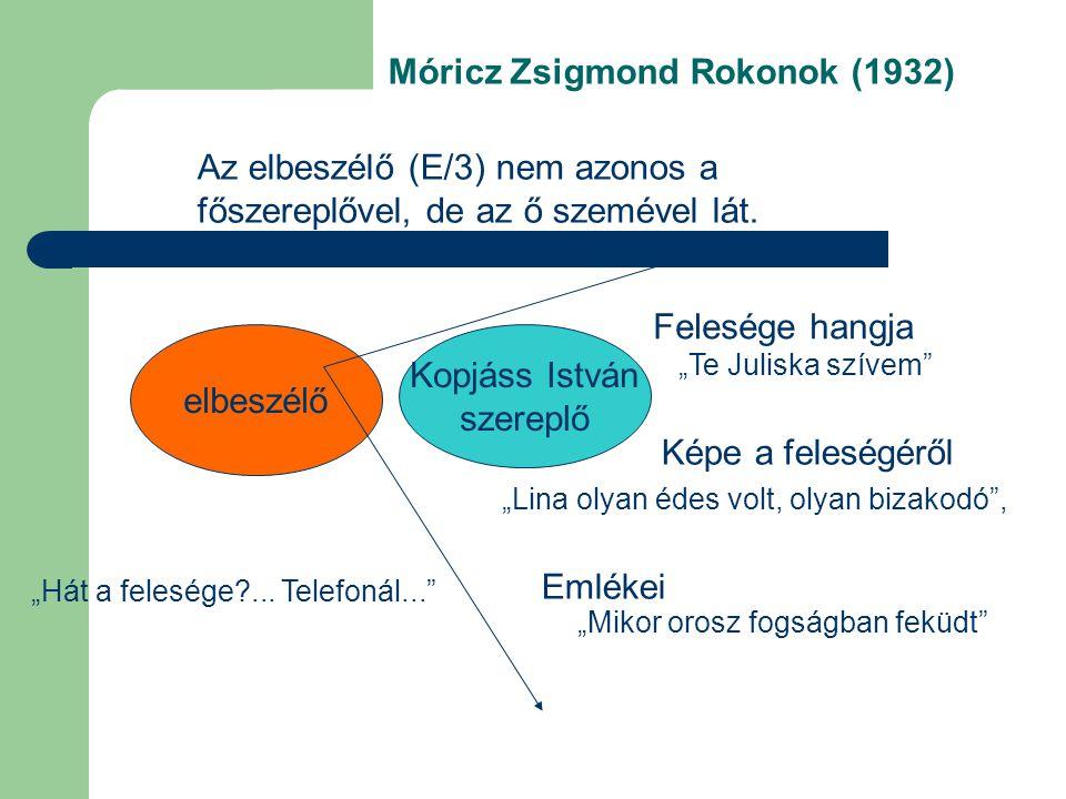 Móricz Zsigmond Rokonok (1932) Kopjáss István szereplő Felesége hangja Emlékei elbeszélő Az elbeszélő (E/3) nem azonos a főszereplővel, de az ő szemév
