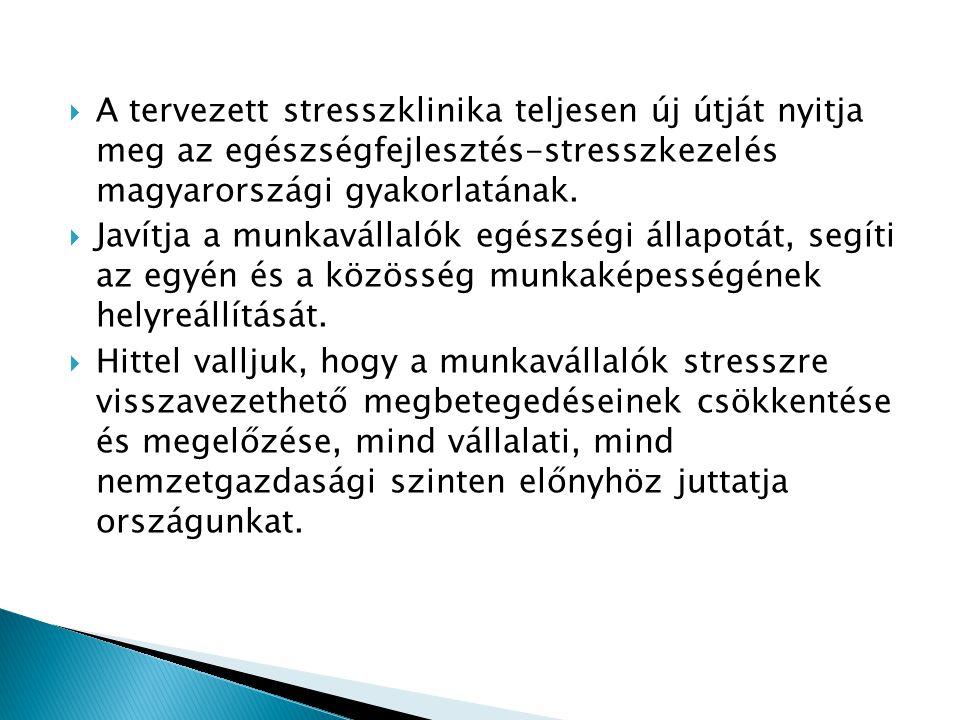  A tervezett stresszklinika teljesen új útját nyitja meg az egészségfejlesztés-stresszkezelés magyarországi gyakorlatának.