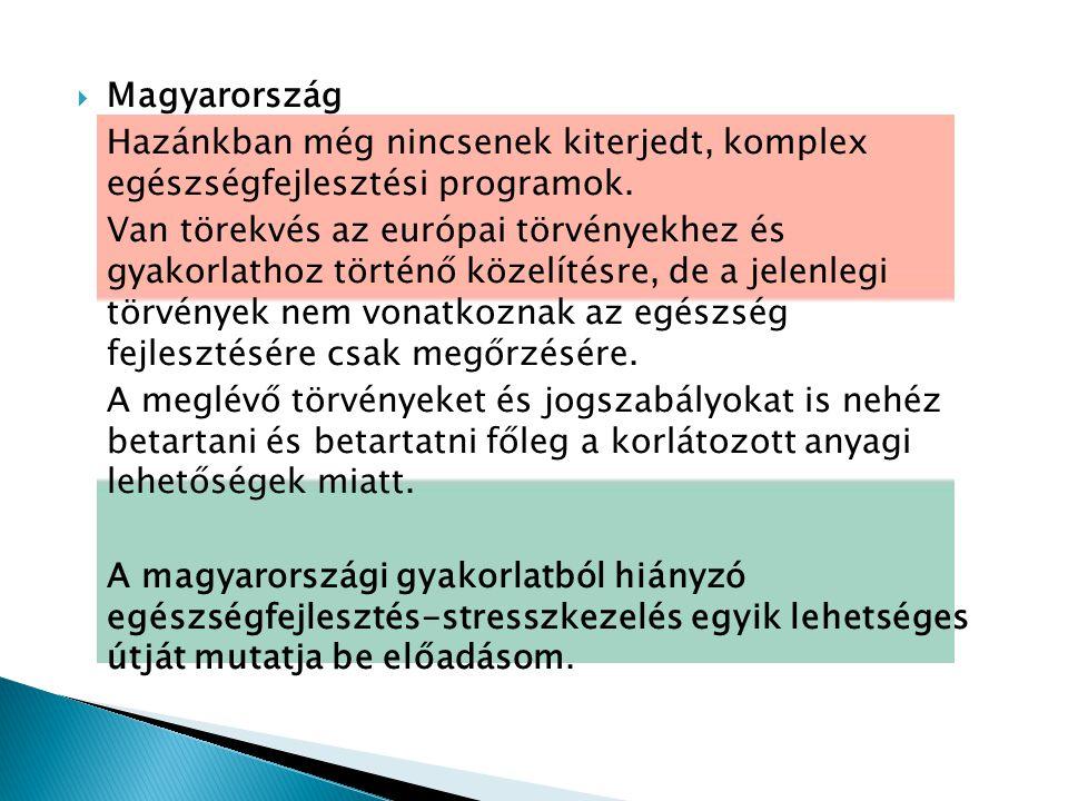  Magyarország Hazánkban még nincsenek kiterjedt, komplex egészségfejlesztési programok.