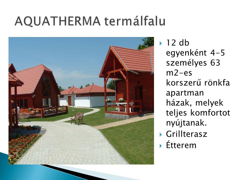  12 db egyenként 4-5 személyes 63 m2-es korszerű rönkfa apartman házak, melyek teljes komfortot nyújtanak.