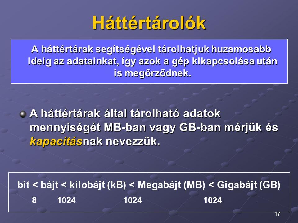 17 Háttértárolók A háttértárak által tárolható adatok mennyiségét MB-ban vagy GB-ban mérjük és kapacitásnak nevezzük. bit < bájt < kilobájt (kB) < Meg